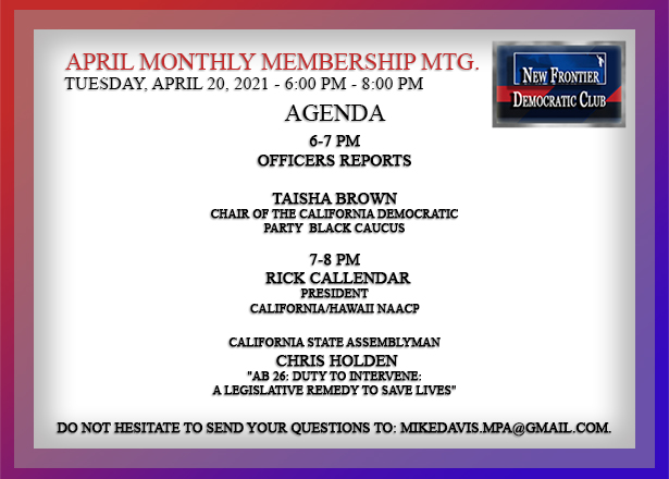April 2021 General Membership Meeting